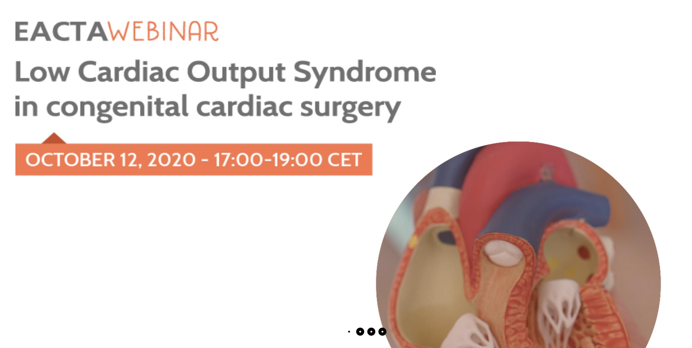 Webinar EACTA le 12 octobre : Syndrome de bas débit cardiaque en chirurgie cardiaque congénitale